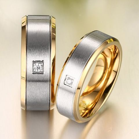 One Piece Simple Golden Fashion Alloy Rhinestone Ring For Men