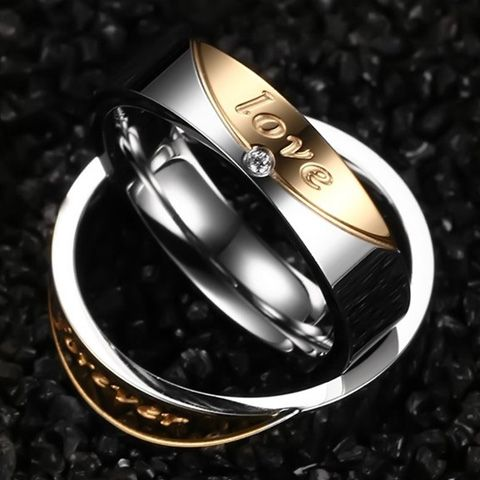 One Piece Alloy Love Rhinestone Ring
