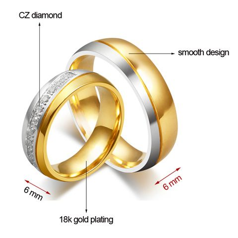 ONE PIECE CZ Diamond Gold Plated Alloy Ring