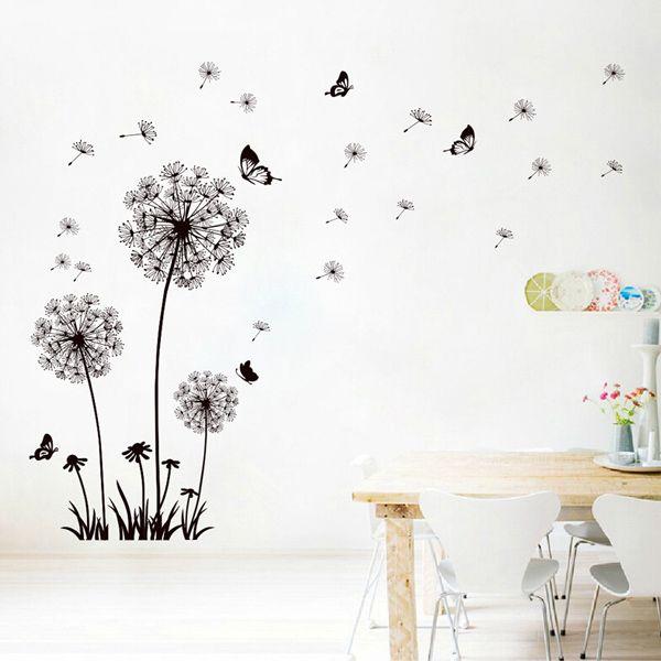 Fashion Black Dandelion Pattern Wall Sticker For Livingroom Bedroom Decoration