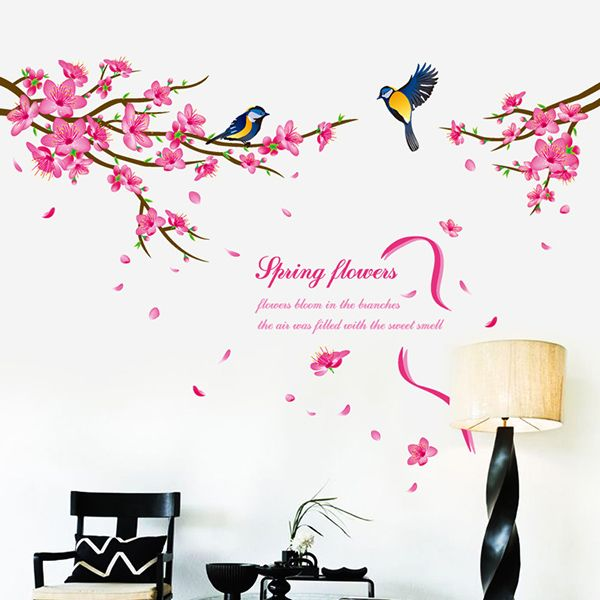 Fashion Peach Blossom Magpie Pattern Wall Sticker For Bedroom Livingroom Decoration