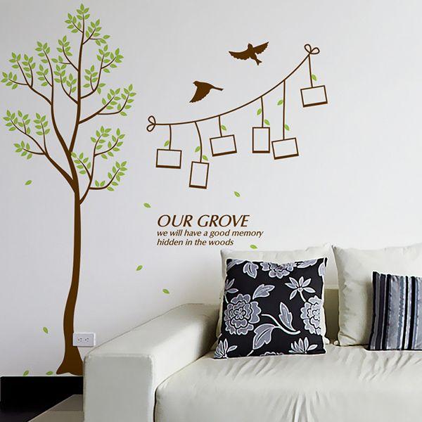 Fashion Green Tree Pattern Photo Wall Sticker For Livingroom Bedroom Decoration
