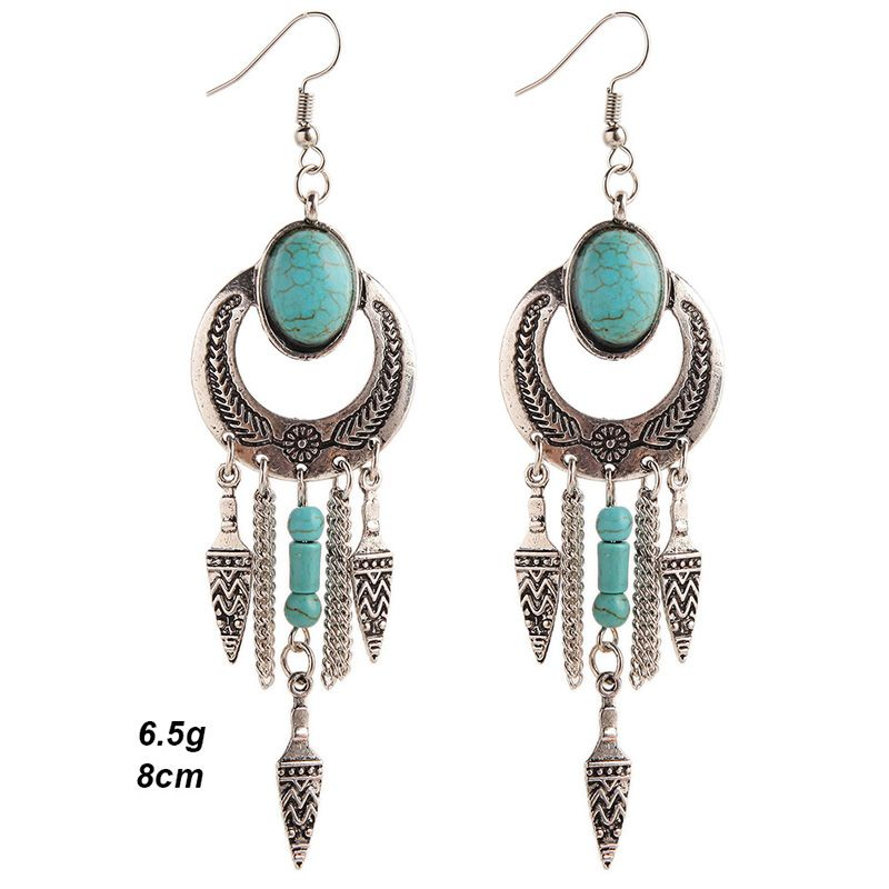 Ethnic Faux Turquoise Cut Out Geometric Drop Earrings