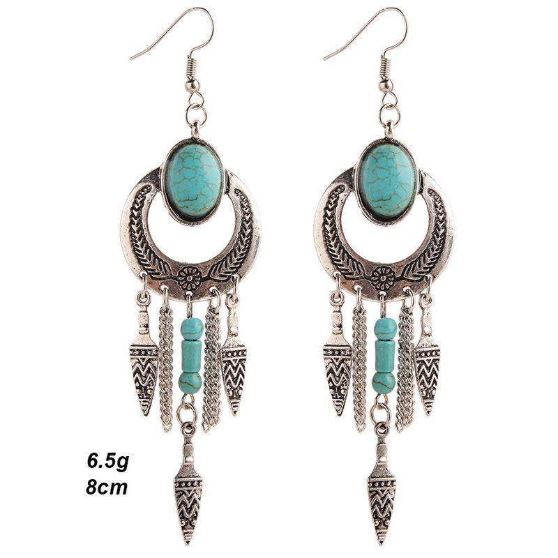 Ethnic Faux Turquoise Cut Out Geometric Drop Earrings