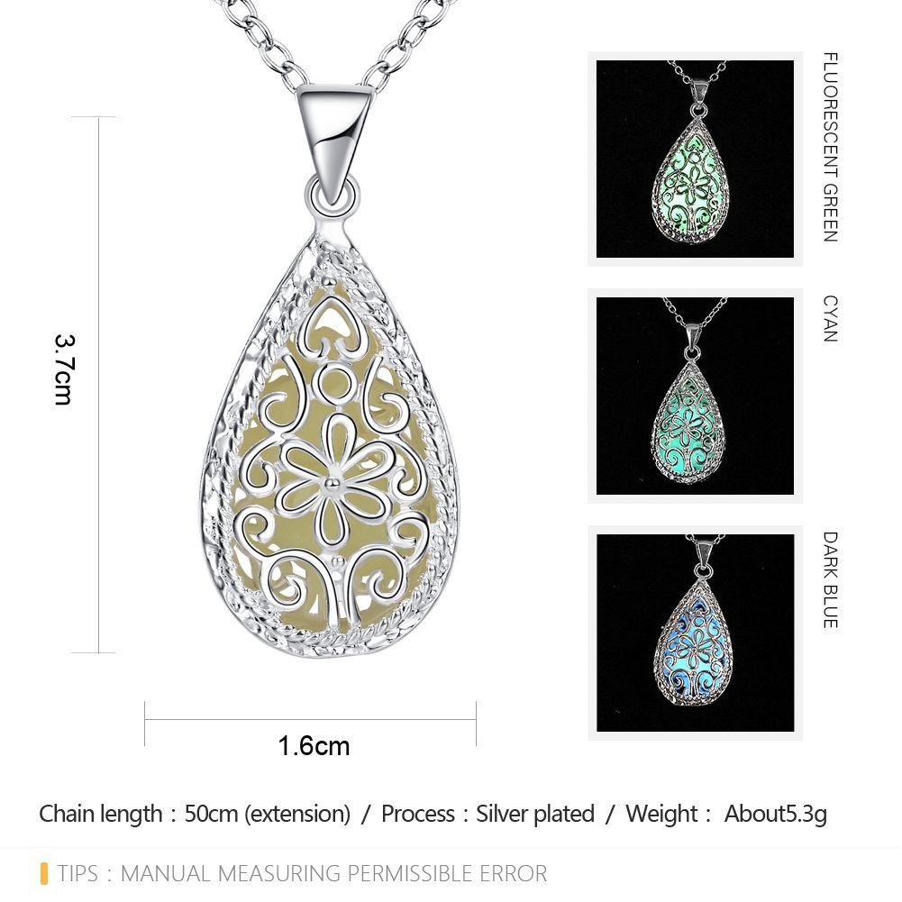 Water Drop Carve Luminescent Faux Gem Necklace