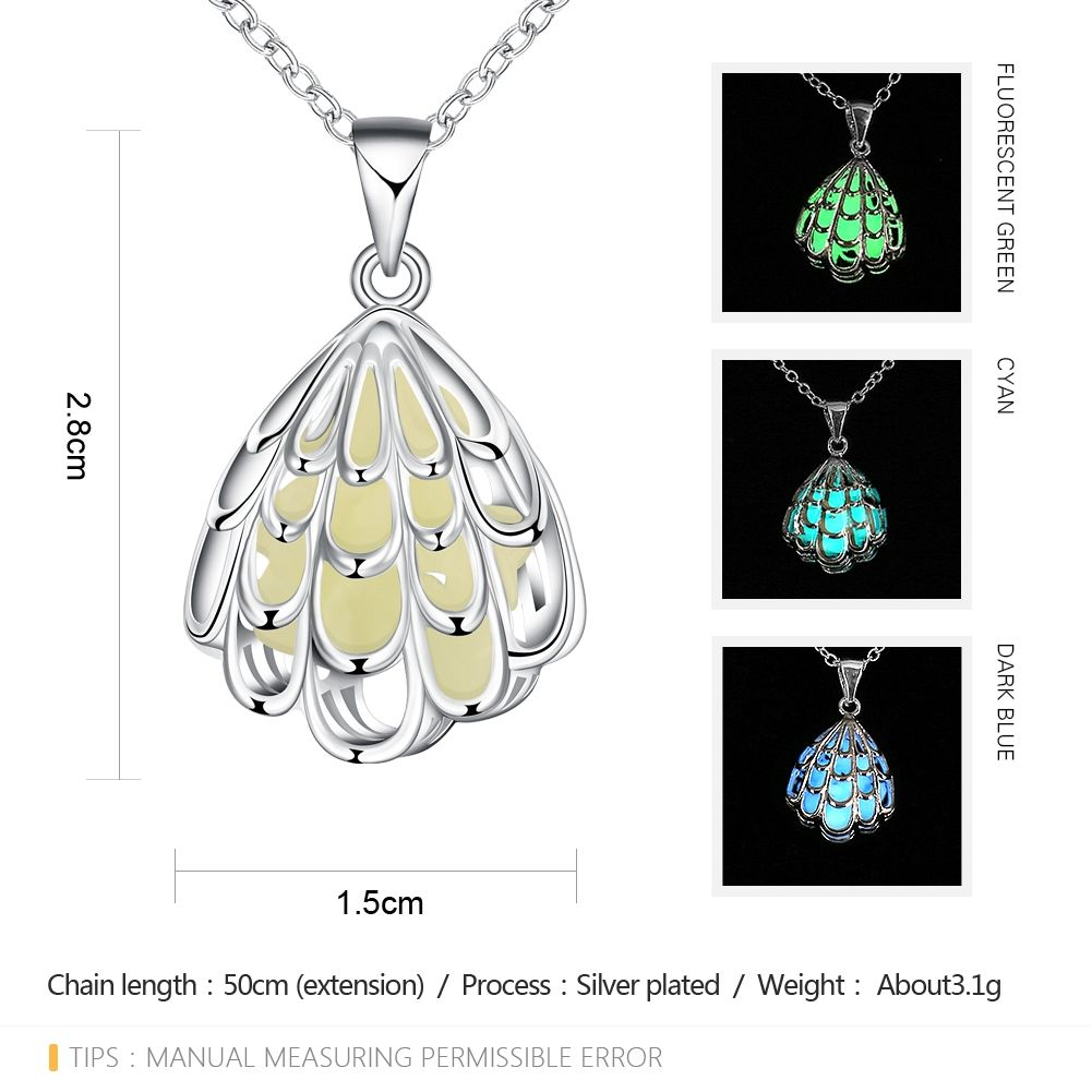 Luminescent Faux Gem Hollow Out Seashell Shape Carve Necklace