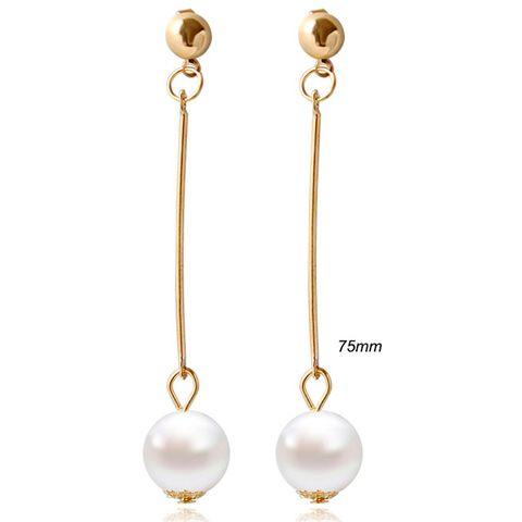 Pair of Geometric Bead Faux Pearl Earrings