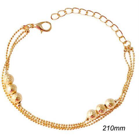 Gold Plated Bead Mini Popcorn Chain Bracelet