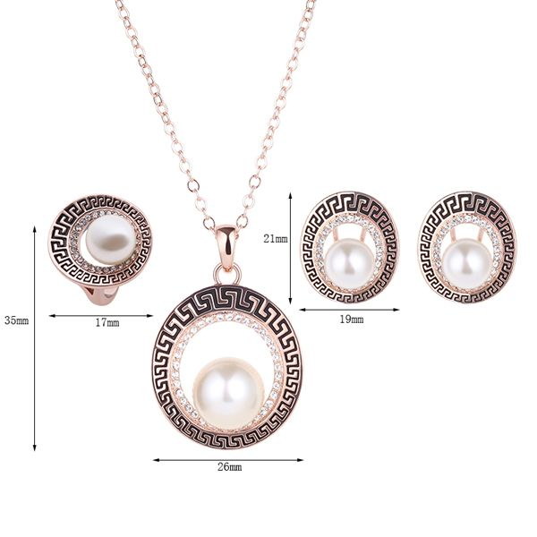 A Suit of Openwork Faux Pearl Rhinestone Necklace Earrings and Ring