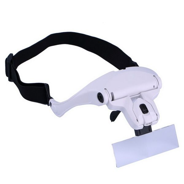 Eyeglasses Bracket Interchangeable Magnifier with 2 LED For Reading Jeweler Watch Repairing