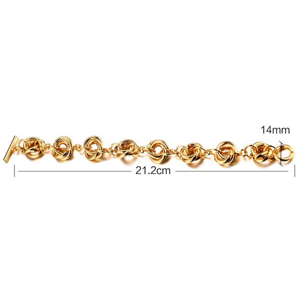 Gold Plated Multiple Circles Chain Bracelet