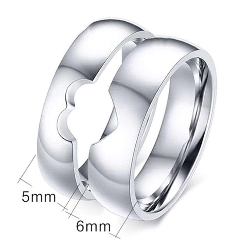 Pair of Hollow Out Heart Shape Rings For Lovers