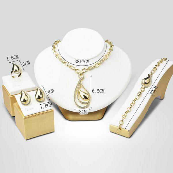 A Suit of Openwork Water Drop Necklace Bracelet Ring Earrings