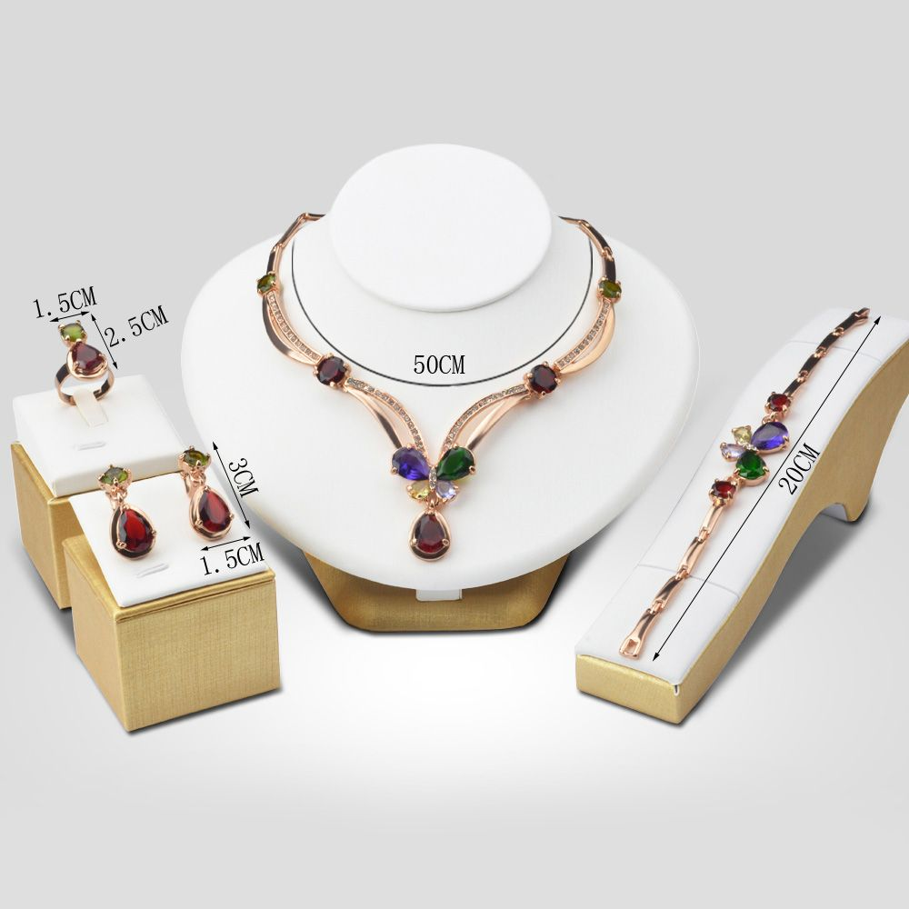 A Suit of Faux Gem Water Drop Necklace Bracelet Ring Earrings