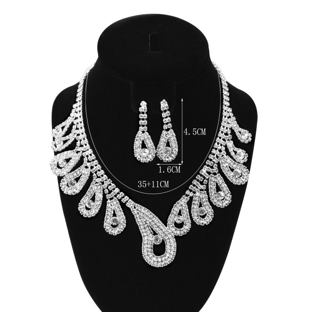 A Suit of Water Drop Rhinestoned Necklace Bracelet Ring Earrings