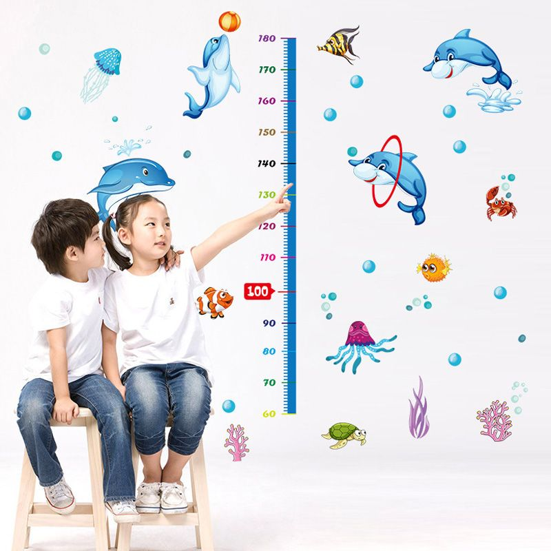 Creative Cartoon Dolphin Pattern Height Wall Sticker For Kindergarten Children's Bedroom