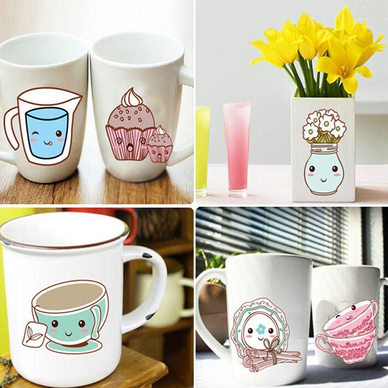 Cute Cartoon Tablewares Pattern Wall Sticker For Kitchen Cabinet Decoration