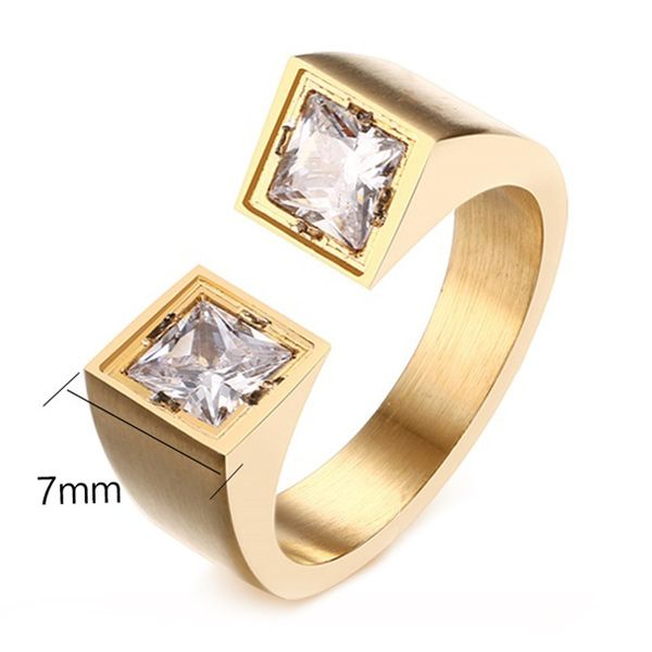 Glod Plated Zircons Decorated Cuff Ring