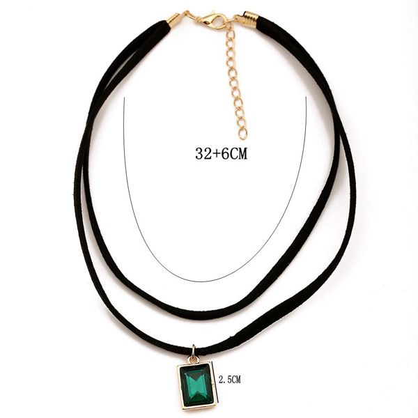 Retro Style Double-Layered Rectangle Artificial Gem Choker Necklace For Women