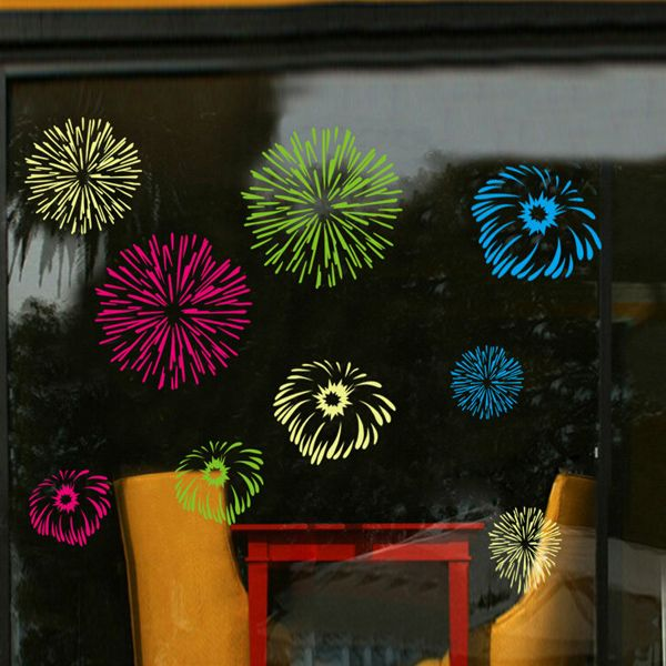 New Style Colorful Fireworks Pattern Wall Sticker For Glass Show Window Decoration