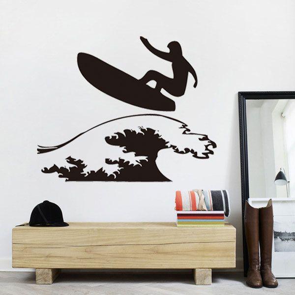 Simple Surfing Guy Pattern Sports Vinyl Decals Wall Sticker