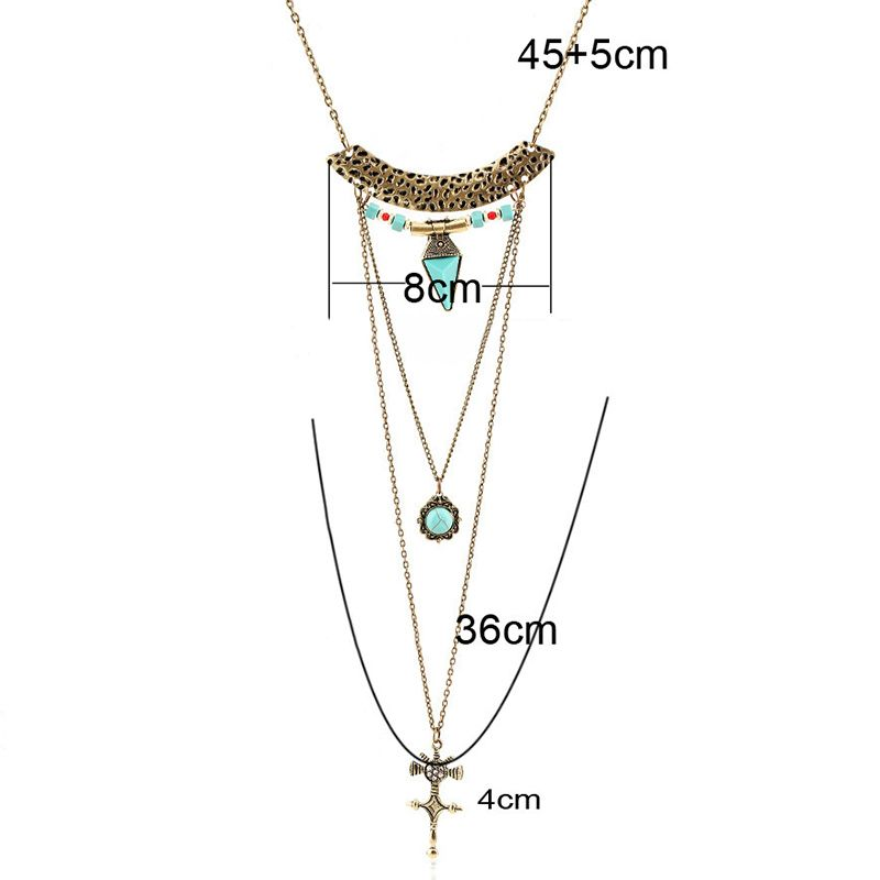 Crucifix Fake Turquoise Multilayered Sweater Chain