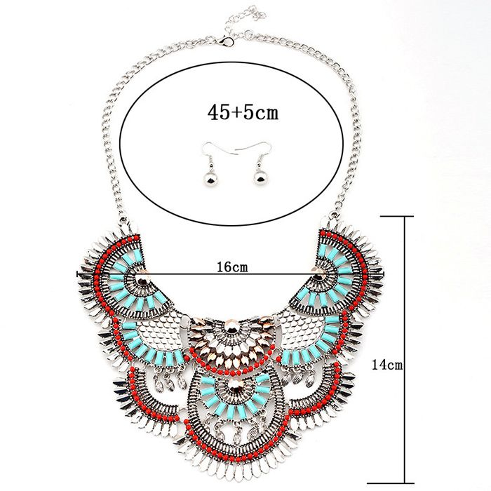 A Suit of Retro Hollow Out Faux Gem Beaded Necklace and Earrings