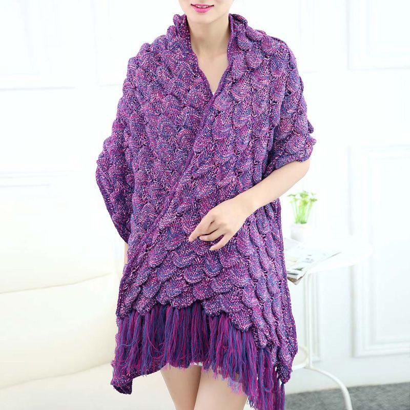 Fringed Fish Tail Design Sleeping Bag Mermaid Shape Knitting Blanket