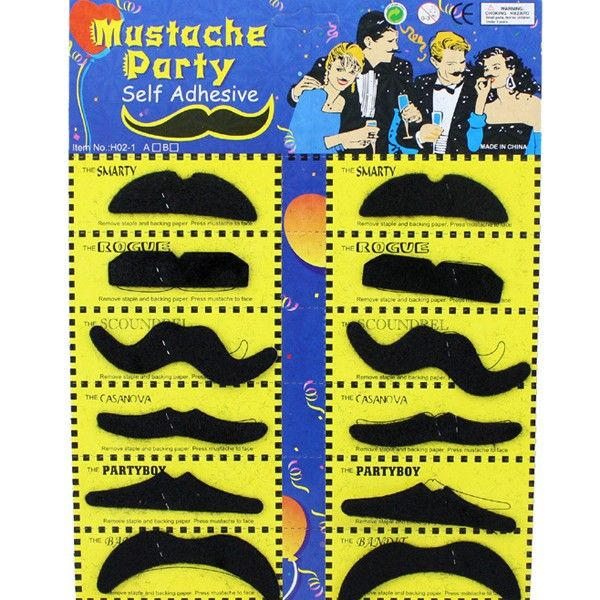 12PCS Halloween Self-Adhesive Mustache Cosplay Prop For Fancy Ball Party Show