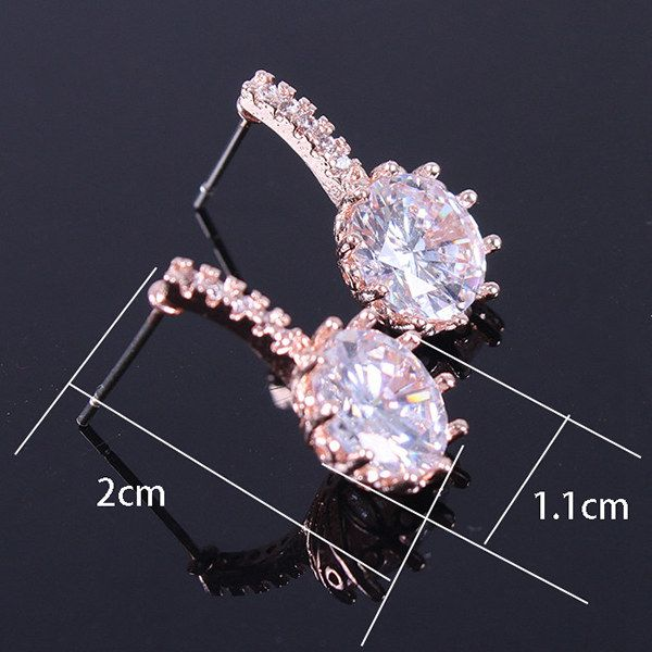 Pair of Alloy Gold Plated Zircon Stud Earrings