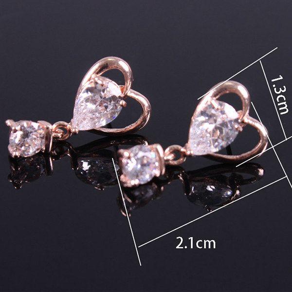 Pair of Zircon Heart Shape Drop Earrings