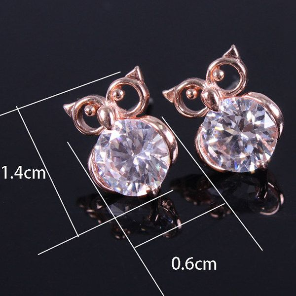 Pair of Hollow Out Zircon Owl Stud Earrings
