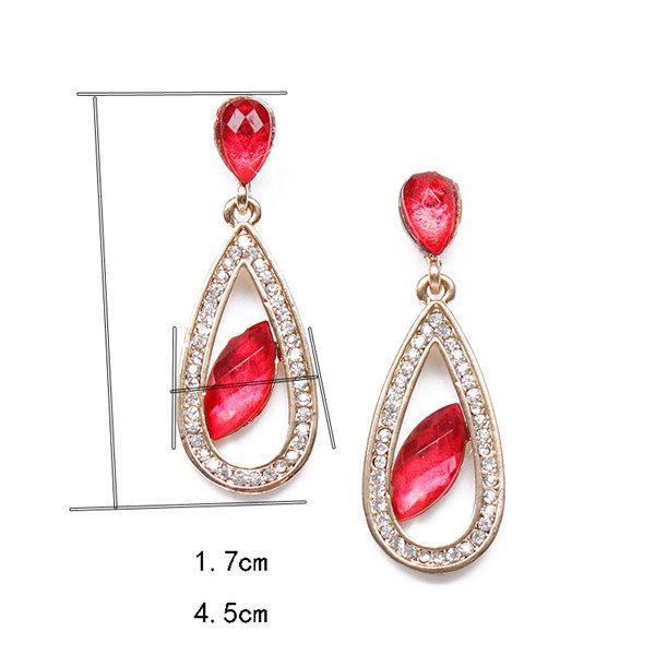 Pair of Teardrop Rhinestone Artificial Ruby Earrings