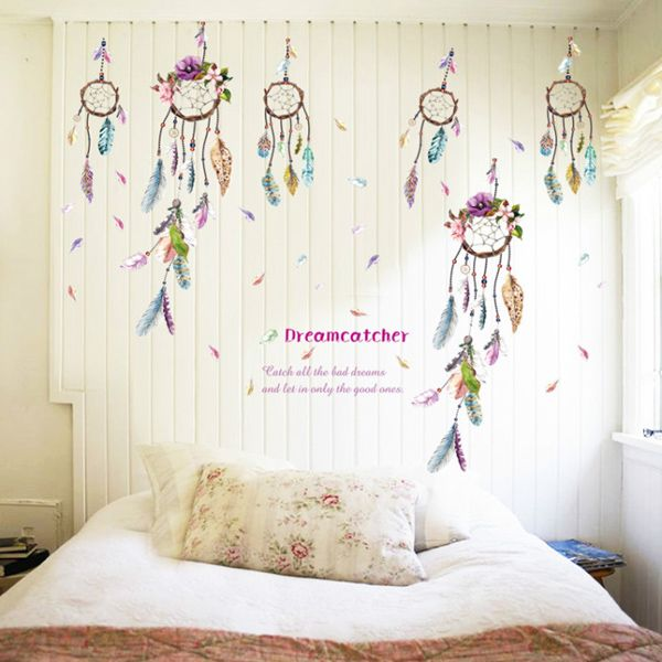 Creative Feather Windbell Pattern Wall Sticker For Bedroom Livingroom Decoration