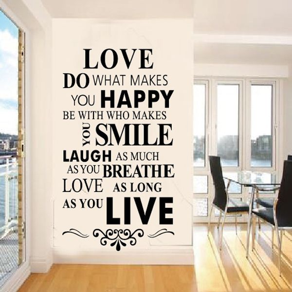 Creative Happy House Rule Pattern Wall Sticker For Bedroom Livingroom Decoration