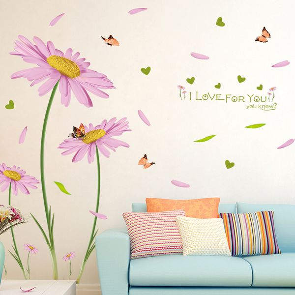 Creative Pink Chrysanthemums Pattern Wall Sticker For Bedroom Livingroom Decoration