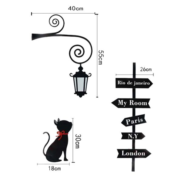 Creative Street Light Kitten Pattern Wall Sticker For Bedroom Livingroom Decoration