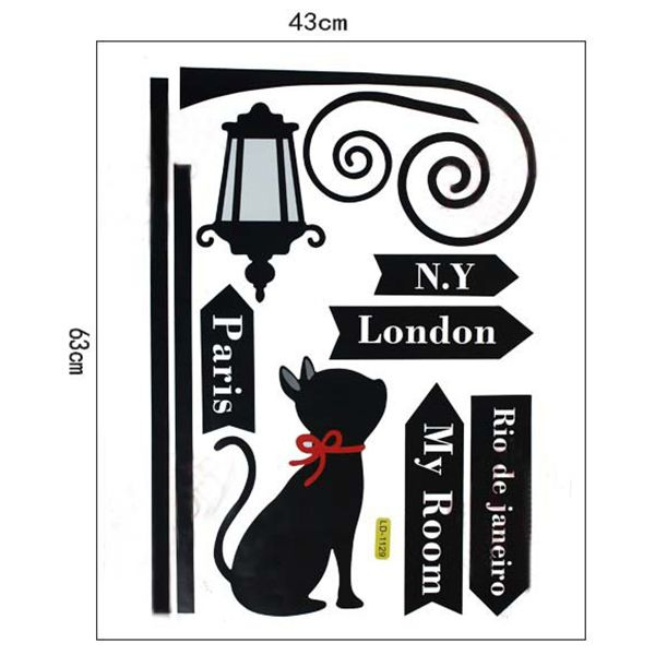 Creative Street Light Kitten Pattern Wall Sticker For Bedroom Livingroom Decoration