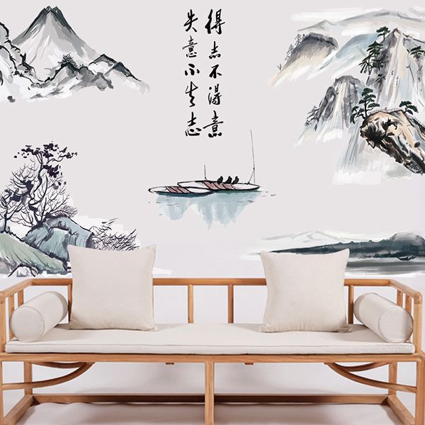 Creative Chinese Landscape Painting Pattern Wall Sticker For Livingroom Bedroom Decoration
