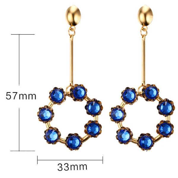 Pair of Retro Rhinestone Embellished Circular Pendant Earrings