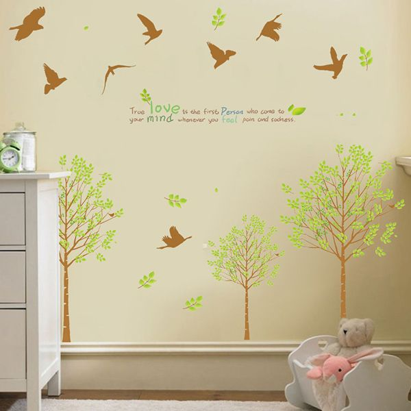 Fresh Style Tree and Birds Pattern Wall Sticker For Livingroom Bedroom Decoration