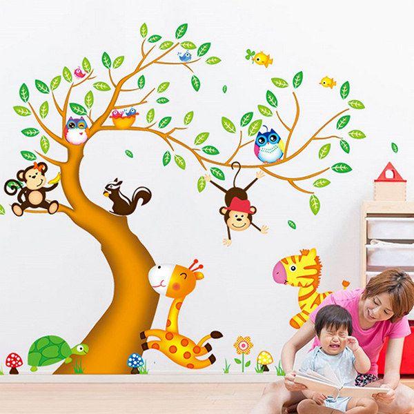 Sweet Cartoon Animals Trees Pattern Two-Sided DIY Wall Sticker