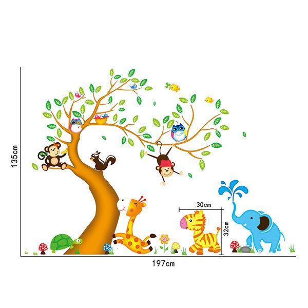 Sweet Cartoon Animals Trees Pattern Two-Sided DIY Wall Sticker