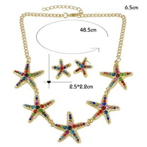 A Suit of Alloy Rhinestone Starfish Necklace and Earrings
