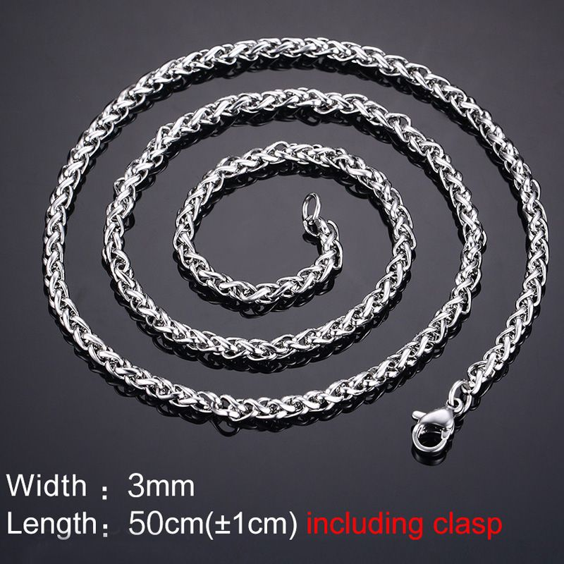 Punk Solid Color Snake Chain Necklace For Men
