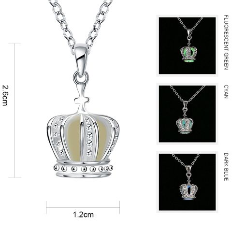 Retro Silver Plated Crown Noctilucent Necklace
