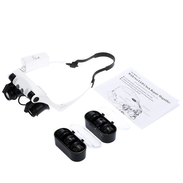 High Quality Adjustable Loupe Headband LED Light Magnifying Glass with 4 x Lens For Jeweler Watch Repair