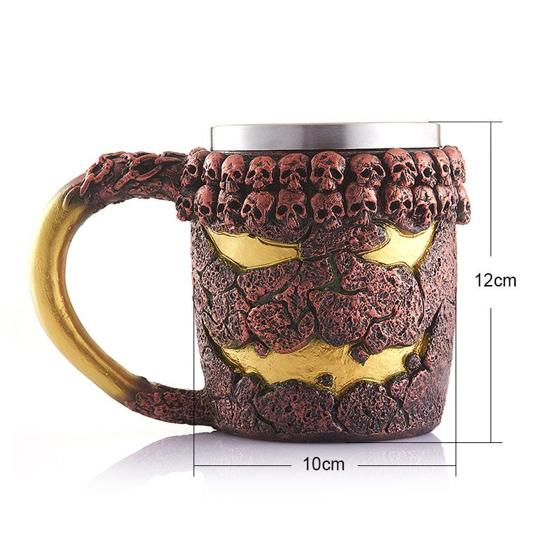 Novelty 15OZ Halloween Bronze Monster Pattern Beer Cup For Bar Festive Decoration