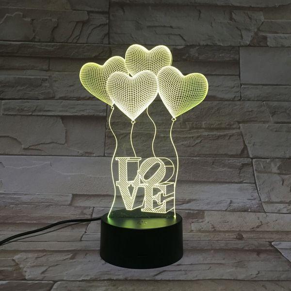 Novelty 3D Heart Shape Balloon Bedroom Acrylic LED Night Light