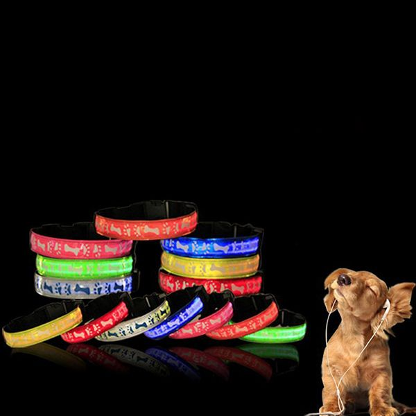 Eye-Catching LED Luminous Bone Footprint Pattern Night Walk Collar For Dogs
